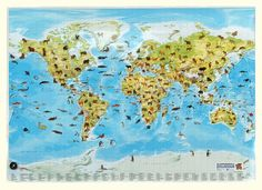 Dieren wereldkaart met metaalstrips