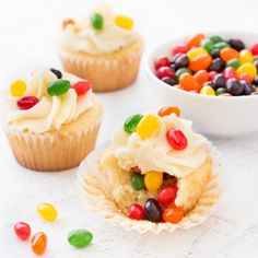 Jelly bean cupcakes are simple vanilla cupcakes decorated with jelly beans inside and out. They are the perfect Easter dessert!