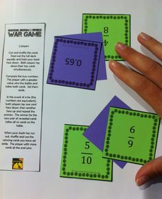 Set of leveled war games for comparing fractions, decimals, and percents
