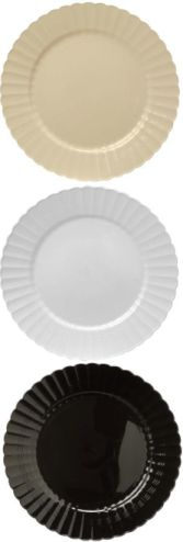 Elegant Plastic Plates white or clear Pk of 144 for $98.99. $.68/ & 7.5