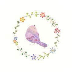 """Little Purple Bird and Wreath"" −RiLi, picture book, illustration, design ___ ""紫色の小鳥と花の輪"" −リリ, 絵本, イラスト, デザイン ...... #illustration #bird #purple #wreath #イラスト #鳥 #紫 #花輪"