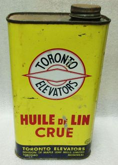 VINTAGE TORONTO ELEVATORS: RAW LINSEED OIL TIN! GREAT GRAPHICS /AD -tin is empty