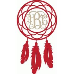 Silhouette Design Store: round feather monogram frame