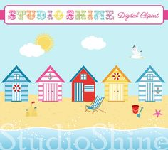 Digital Clipart  By The Seaside  Beach Hut Nautical by StudioShine, $5.00