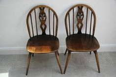 Two Classic Vintage Retro Ercol Solid Elm Dining/ Kitchen Chairs Solid joints