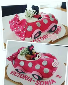 ideas for pink cars cake Minnie Mouse Car, Mickey And Minnie Cake, Bolo Mickey, Minnie Birthday, Birthday Cake Girls, Car Shaped Cake, Cars Cake Pops, Mousse, Mini Mouse Cake