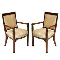 Pair of French French Empire Fauteuiles | From a unique collection of antique and modern armchairs at https://www.1stdibs.com/furniture/seating/armchairs/