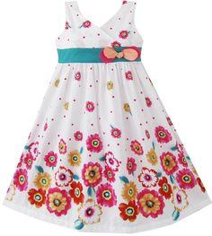 Mädchen Kleid Rosa Gelb Sonnenblume Drucken Bogen Binden Gr.86