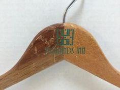 Vintage-Highlands-Inn-Green-Letters-Clothing-Hanger-Wooden-Wood