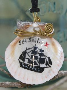 Nautical Jewelry Handpainted Seashell Necklace by TangentsBySHS