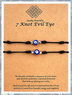 (This is an affiliate pin) XINSITE Upgraded 7 Knots Evil Eye Bracelet Adjustable Lucky Red String Bracelet Set Kabbalah Protection Friendship Wish Bracelets for Women Men Boy Girl Him Her BFF with Message Card Evil Eye Bracelet, Bracelet Set, Bracelet Making, Thread Bracelets, Wish Bracelets, Friend Gifts, Gifts For Friends, Friendship Wishes, Presents For Wife