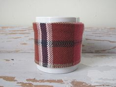 Red Plaid Coffee Mug Cozy Java Jacket Mocha Cafe by aclhandweaver