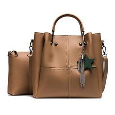 Striped Patchwork Women Shoulder Bags Fashion Pu Leather 2pcs