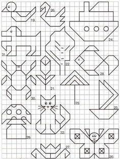 "May: Math ""May""hem ~ Spring Math Printables Color By Codes Blackwork Patterns, Blackwork Embroidery, Cross Stitch Embroidery, Cross Stitch Patterns, Graph Paper Drawings, Graph Paper Art, Easy Drawings, Drawing For Kids, Art For Kids"