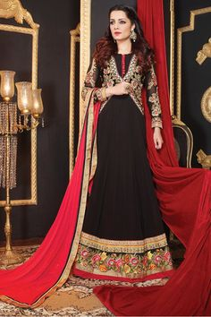 Presenting #Black Faux Georgette #Anarkali #Suit with Embroidered and Lace Work Shop Now@ http://zohraa.com/celina-jaitly-suit-black-faux-georgette-anarkali-suit.html Rs. 4,849.