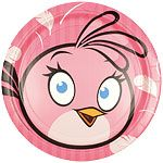 Plates: Angry Birds Pink Plates - 23cm Paper Party Plates (8pk)