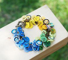 Green Glass Blue Sky Beautiful World Blue Green Yellow Button Handcraft Bracelet #Jeanninehandmade #Chain