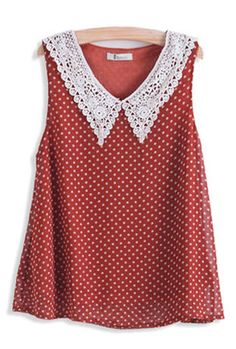 Love Fool Crochet Collar Polka Dot Print Top in Scarlet | Sincerely Sweet Boutique