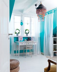 The voile curtains are the perfect compliment to the bright turquoise walls.Photographed by Peter Carlsson and featured in Hus & Hem via House of Turquoise House Of Turquoise, Turquoise Walls, Turquoise Office, Teal Walls, Turquoise Bedrooms, Turquoise Chandelier, Red Turquoise, Beaded Chandelier, Aqua Blue