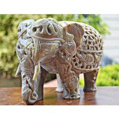 Decorative Soapstone Marble Elephant Figurine, Mother Womb Baby Elephant Sculpture
