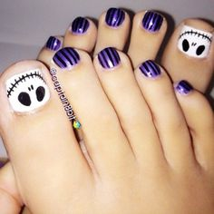 """skeleton on toe nails Awesome Halloween Toe Nail Art Designs For Horror Junkies!""--Christmas toe nail art for Tim Burton fans Simple Toe Nails, Pretty Toe Nails, Cute Toe Nails, Pretty Toes, Toe Nail Art, Love Nails, Fun Nails, How To Do Nails, Style Nails"