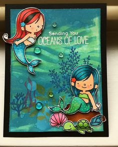 "Jacquie (@ashwyness) on Instagram: ""So I normally don't make scene cards but these mermaids are just so cute!#diycards #mermaids…"""