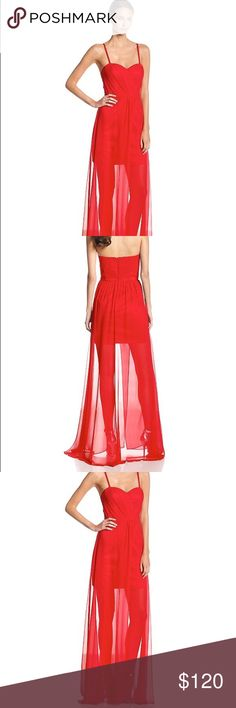 NWT ERIN Erin Fetherston Gown Size 0 Prom Red Full-length. Sweetheart neckline. Illusion skirt with slit at front. Optional spaghetti straps. Built-in cups. NWT. Red. Size 0. ERIN by Erin Fetherston Dresses Prom