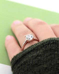 Unity Engagement Ring, 1.50ct diamond hybrid in rose gold | www.miadonna.com