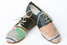 Ten & Co. - oxfords from recycled moroccan boucherouite textiles & ostrich leather