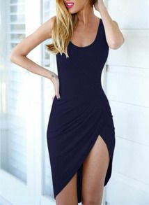Navy Sleeveless Backless Asymmetric Dress
