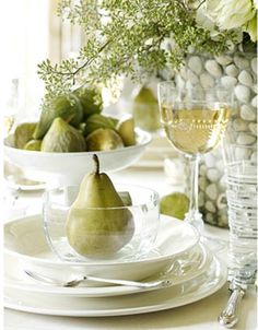 pretty table setting - Have the wine and pears and just need some chocolate!