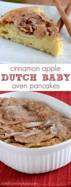 Cinnamon Apple Dutch Baby Oven Pancakes are a favorite breakfast at our house. They are delicious!: