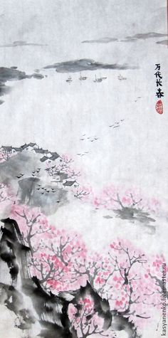 Купить Весенний пейзаж - разноцветный, китайская живопись, китайский стиль, гохуа, горы-воды, се-и