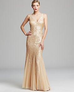 White and Gold Wedding. Gold Bridesmaid Dress. Soft and Romantic. Adrianna Papell Gown - Sleeveless V Neck Beaded with Illusion Cutouts | Bloomingdale's - $308