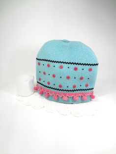 Pink aqua tea cozy Whimsical Shabby cottage by HereAtSmallGoods,