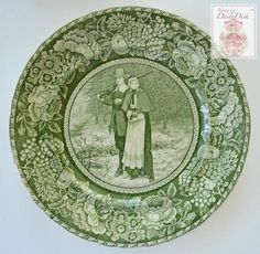 Antique Green Toile English Transferware Plate - Thanksgiving Decor Pilgrim Couple John and Priscilla Alden Absolutely stunning example of custom items exported to the American Market. This plate was Green China, Green And Purple, China China, Antique China, Vintage China, Grazing Cow, Vintage Table, Vintage Dishes, China Sets