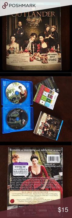 Outlander S2 Blu-Ray Opened but never used/watched. I ended up purchasing the special edition so never watched this version. Blu-Rays haven't been removed from case! Only been unwrapped. Blu-Ray Accessories