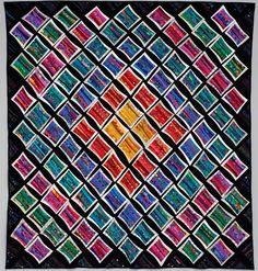 Rainbow art quilt. Abstract textile art. Modern art quilt. Fiber art ...