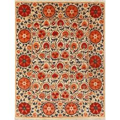 Rug with great rich colors. I love the scarlet red with dark teal accents on the neutral background
