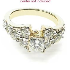 Present yourself with our luxuriant 14KT yellow gold diamonds engagement ring. Composed with 1.40CT princess and round cut breathtaking diamonds .  The center of this setting can hold an amazing diamond that can be selected from our vast collection of certified and appraised diamonds. At primestyle.com you will never pay retail prices again...period!