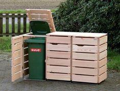 Garbage bin box wood - wood way Garbage Can Shed, Garbage Can Storage, Storage Bins, Garbage Containers, Recycling Containers, Recycling Bins, Hide Trash Cans, Trash Bins, Backyard Garden Design