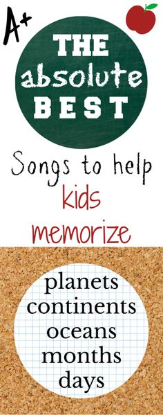 The best 5 songs to help kids memorize the planets, oceans, continents, months, and days of the week! Your kids will have these memorized in no time! Preschool Songs, Preschool At Home, Preschool Kindergarten, Kids Songs, Learning Tools, Fun Learning, Learning Activities, Toddler Learning, Teaching Kids