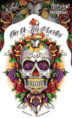 Day of the Dead Dagger Skull Sticker - Favors & Prizes - Amols' Fiesta Party Supplies Skull Tattoo Design, Tattoo Design Drawings, Bird Drawings, Tattoo Designs, Tattoo Ideas, Sugar Skull Tattoos, Star Tattoos, Sugar Skulls, Graffiti Piece