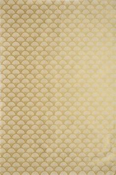 This Art Deco inspired pattern features a scallop and dots design with metallic gold finish on a cream Lokta paper. The traditional paper of Nepal, Lokta is handmade from 100% lokta fiber, a native ba