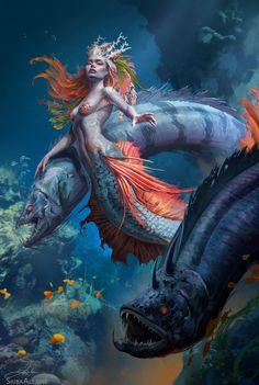 Art featuring merfolk and all sorts of aquatic humanoid creatures. Dark Fantasy Art, Fantasy Girl, Fantasy Artwork, Mermaid Artwork, Mermaid Drawings, Fantasy Mermaids, Mermaids And Mermen, Akali League Of Legends, Dark Mermaid