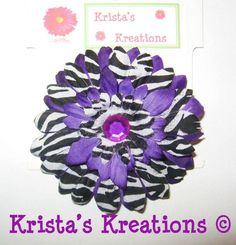 #C-Z03: Mini Purple Zebra Gerbera Purple Rhinestone Black Lined Alligator Clip #Purple #Zebra #Black #Layered #Gerbera #Daisy #Flower #HairClip #Clip #AlligatorClip #KristasKreations https://www.facebook.com/KristasKreationsEtc