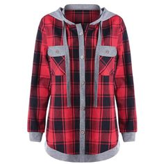 Red 4xl Plus Size Plaid Long Sleeve Hoodie with Pockets (385 CZK) ❤ liked on Polyvore featuring tops, hoodies, plus size hoodie, red hoodie, hooded sweatshirt, plus size hoodies and red plaid hoodie
