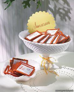 Sunscreen Station #wedding #favor