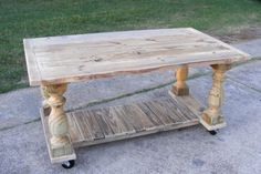 Four Post Balustrade Table With Casters Kitchen Work Table Island