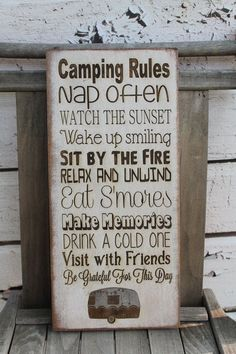 "nice RV Decor Camping rules Primitive Rustic Vintage Style laser engraved custom personalized 7""x16"" Typography Word Art Sign"